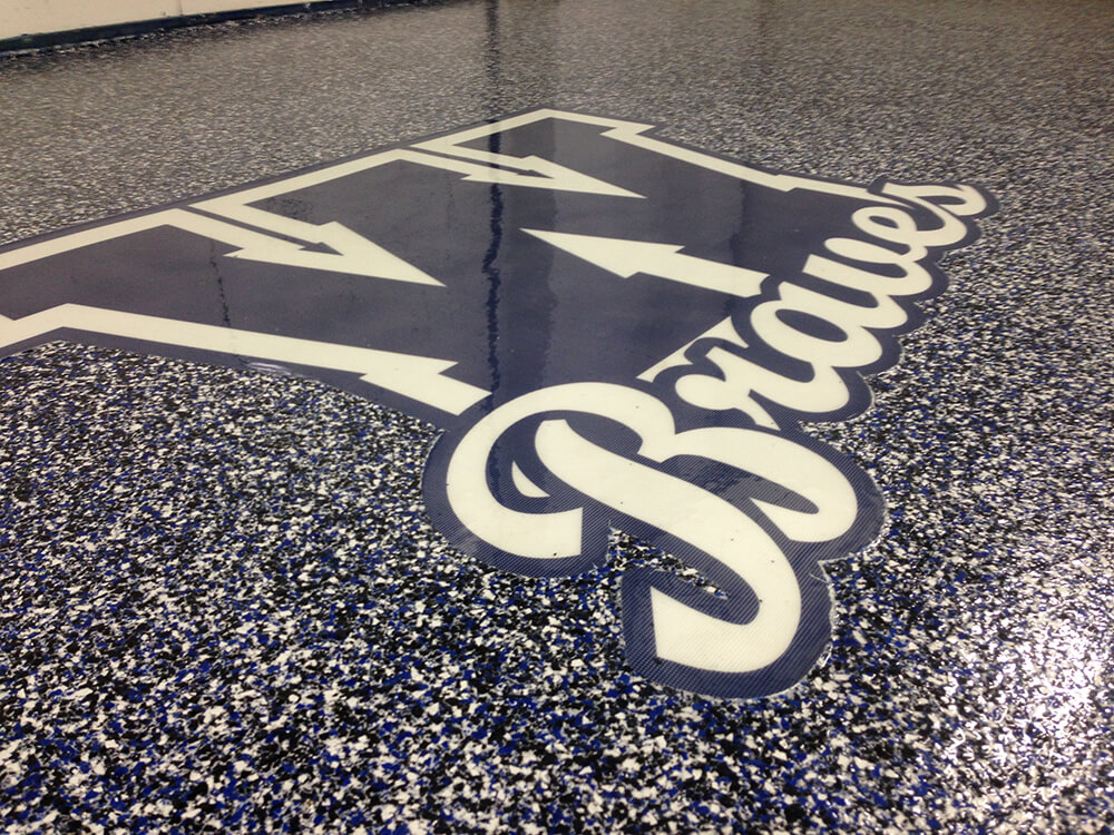 Locker Room Flake Installation with Custom Logo Blue