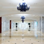 luxury hotel corridor interior with elegant decorations.